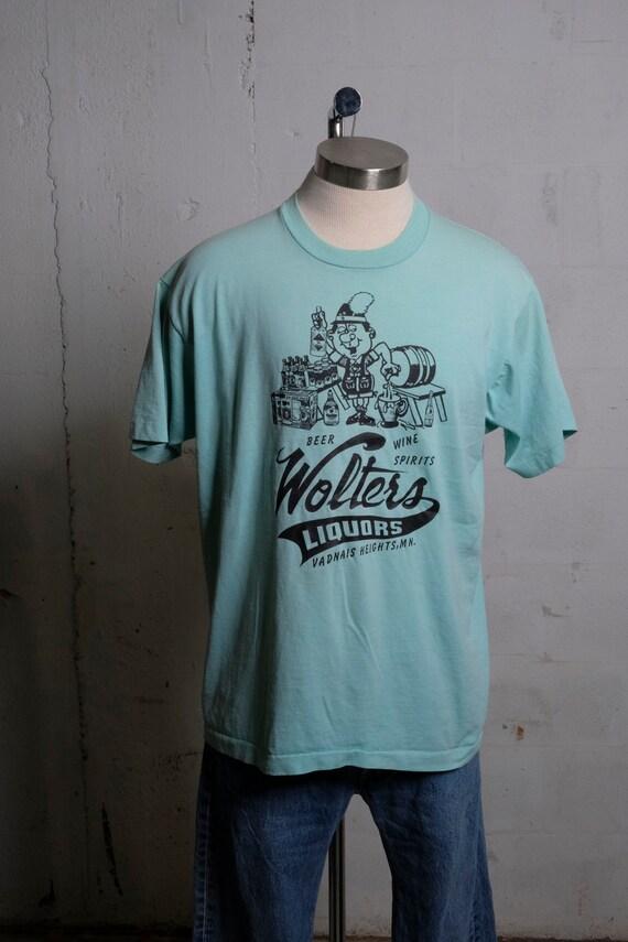Vintage 80's Wolters Liquors Liquor Store T Shirt Vadnais MN Rare! L