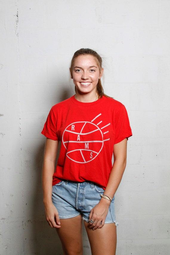 Vintage 80's Rams Basketball T Shirt Screen Stars Soft! Thin!  L