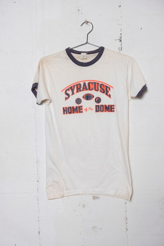 Vintage 80's Syracuse Sports Home Of The Dome Ringer T Shirt Rare! Soft! M