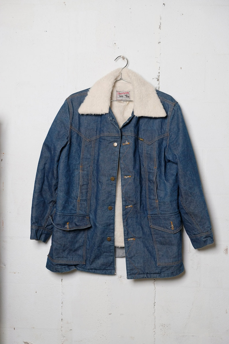 Rare Vintage 70's Lee Storm Ride Shearling Lined Denim Chore Jacket L 0725
