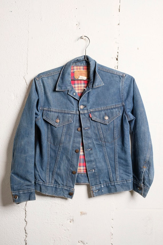 Vintage 80's Levi's 70705 Lined Denim Trucker Jacket Sz 16