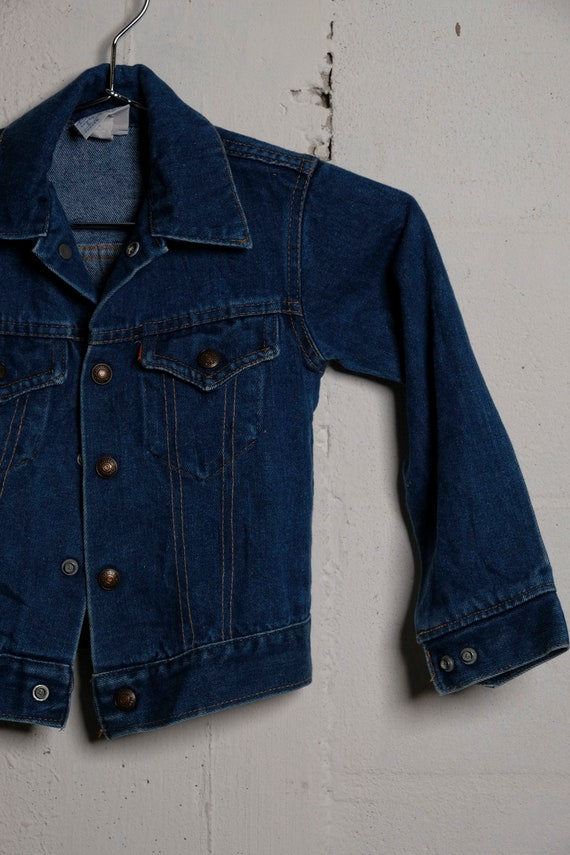 Vintage 70's Little Levi's Kids Size Denim Trucker Jacket Orange Tab
