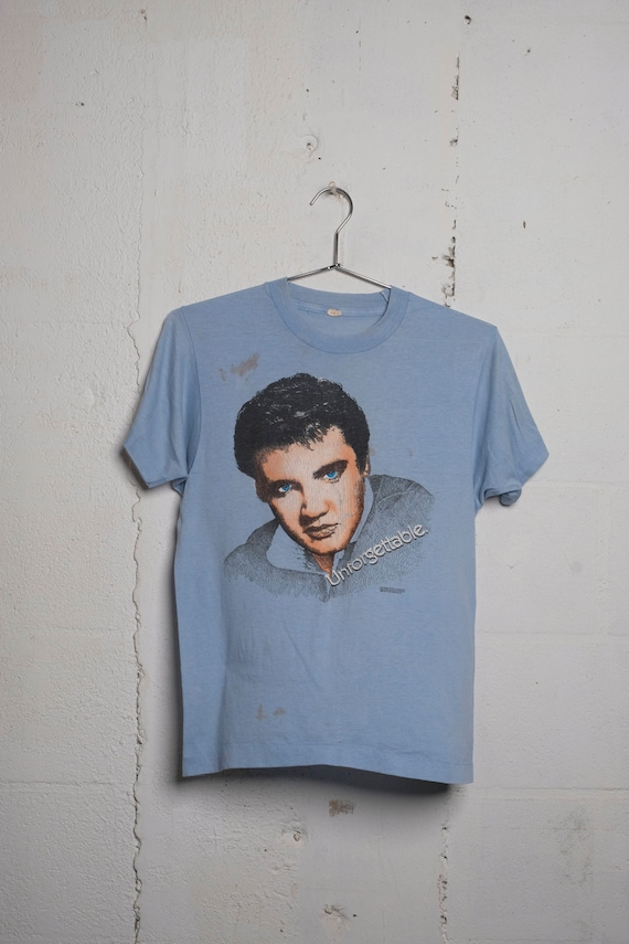 Vintage 80's Elvis Presley Unforgettable T Shirt Thrashed! Thin! Spots! M