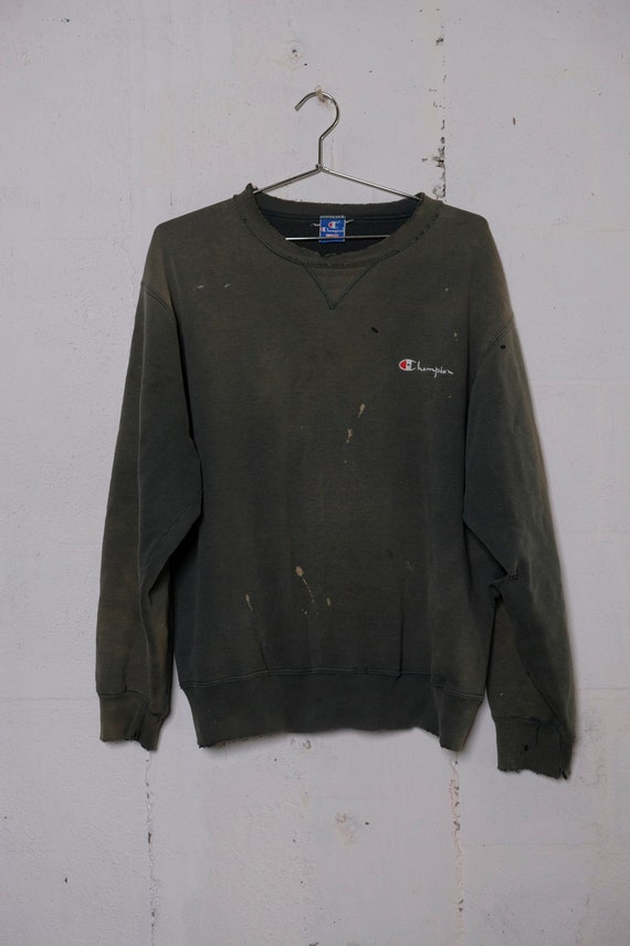 Vintage 90's Champion Reverse Weave Olive Green Sweatshirt Sun Faded! Destroyed! Thrashed! Beat! XL