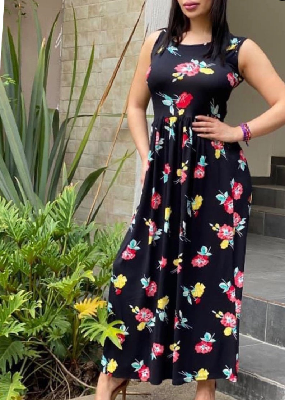 Black Long Floral Dress