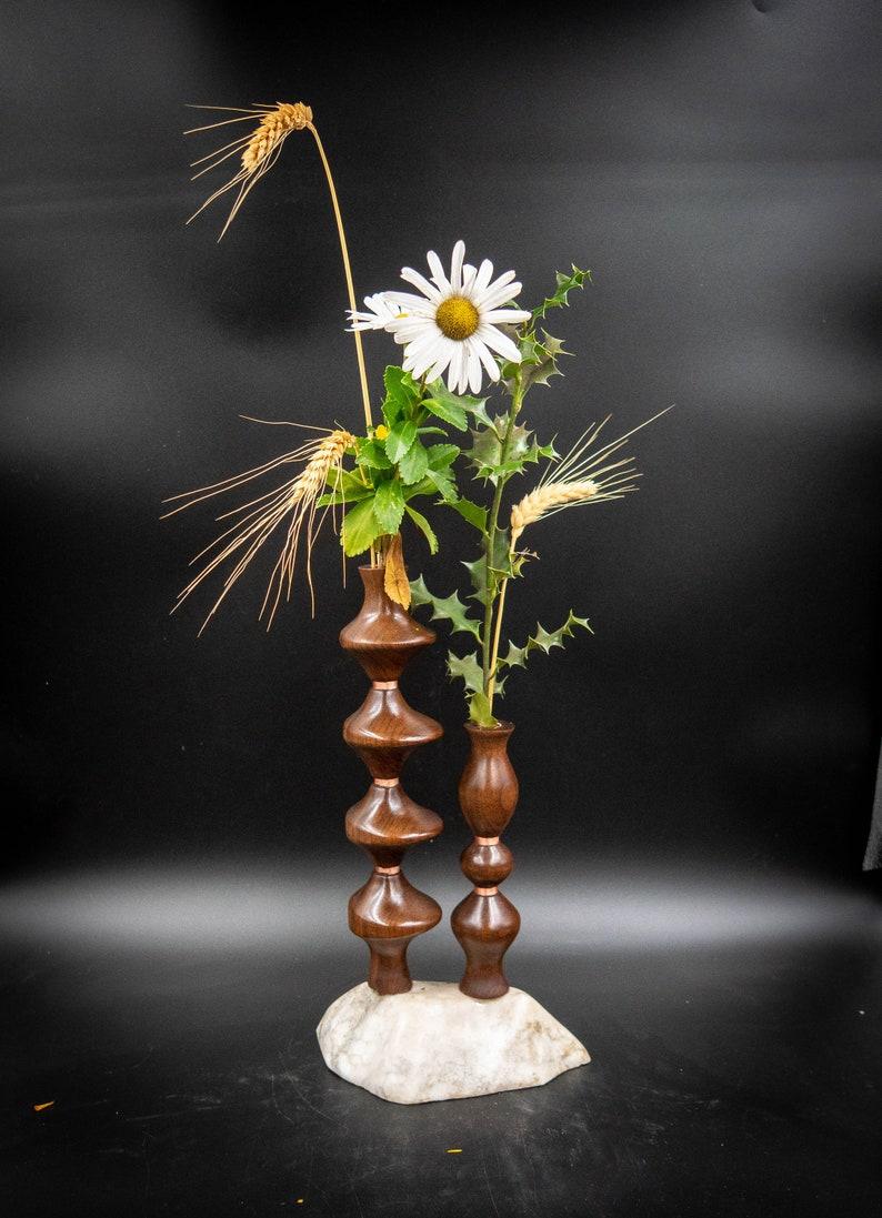 Handmade Turned Wooden walnut Alabaster base  Bud Vase Flower Vase  Weed pot Twig vase 1711