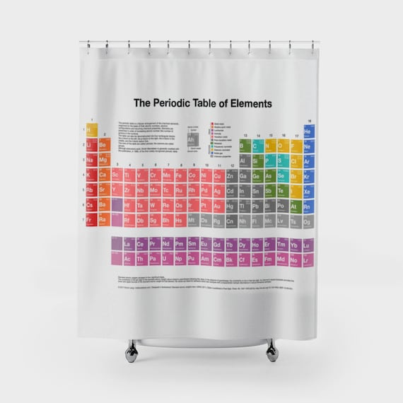 Periodic Table Of Elements Shower Curtain Geeky Nerdy