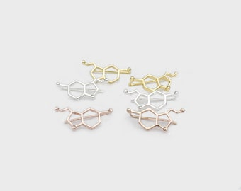 Serotonin Molecule Ear Climbers Studs Earrings Happiness Science Chemistry Biology