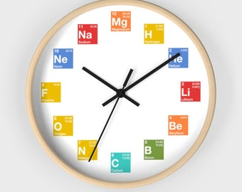 Periodic Table Of Elements Clock  Chemistry Science Physics Nerdy Geeky