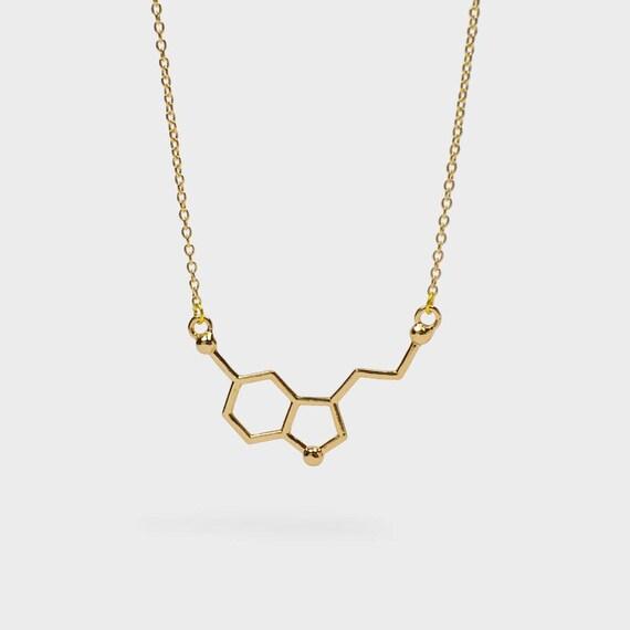 Serotonin Molekül Anhänger Halskette für glückliche Chemie Enthusiasten