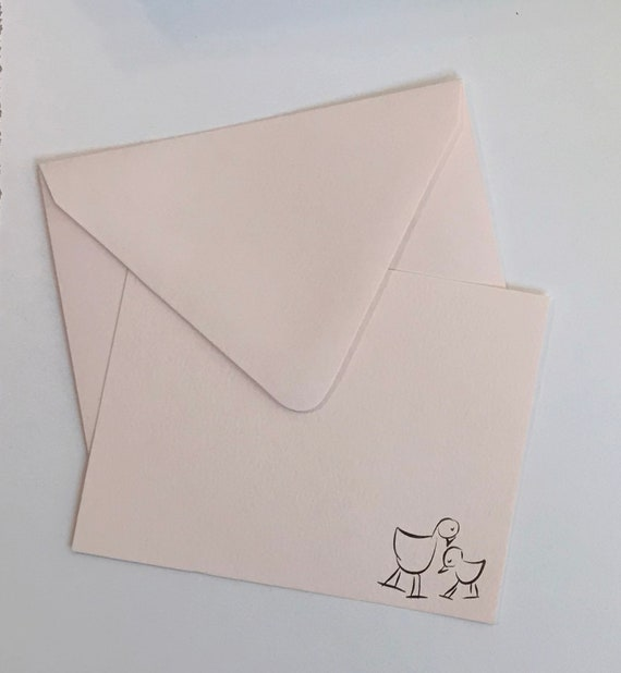 Notecard Grey Gold foil stamping Baby Bird Set of 10