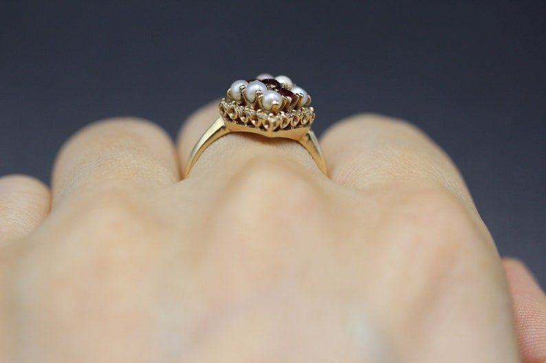 1900 Cocktail Ring Antique 10k Gold Ring R0304 Victorian Ring Fine Jewelry Size 6 14 Vintage Ring Garnet /& Seed Pearl Vintage Ring