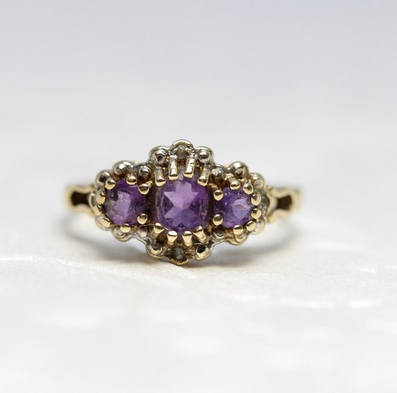 Sophisticated Amethyst Vintage Ring, 9k Gold, Three Stone Style Ring, Size 4 1/2 Vintage Ring, Fine Jewelry C. 1970's    R0367 by Etsy