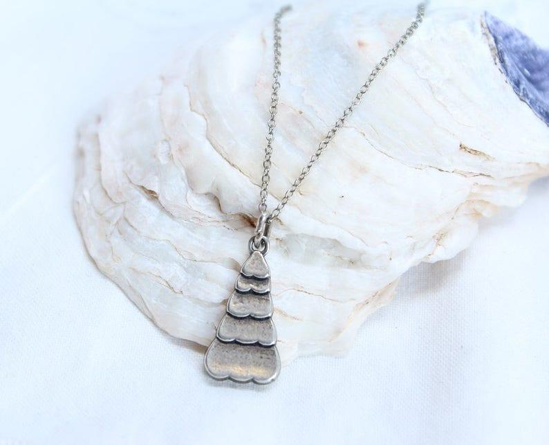 Vintage Necklace-N0050 Vintage Modernist Pendant Necklace Tree Motif Sterling Silver Pendant Necklace Minimalist Necklace