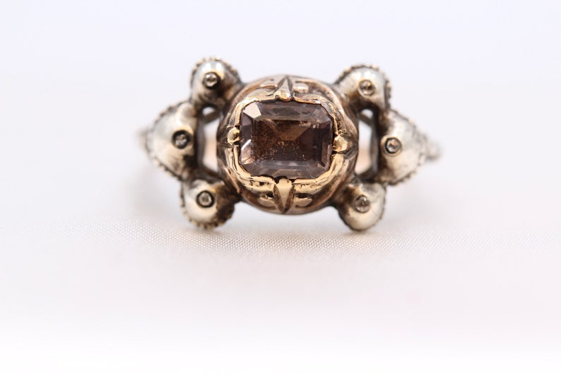 Rare Antique 18th Century Georgian Era Iberian Natural Spinel & Rose Cut Diamond Bow motif High Carat Gold Ring