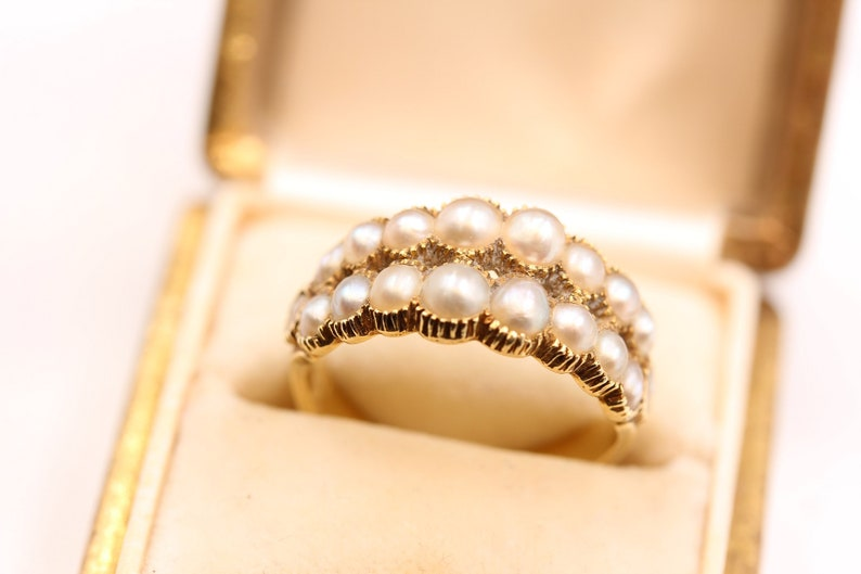 Gorgeous Antique Georgian Double Row Natural Pearl Half Hoop 18k Gold Ring
