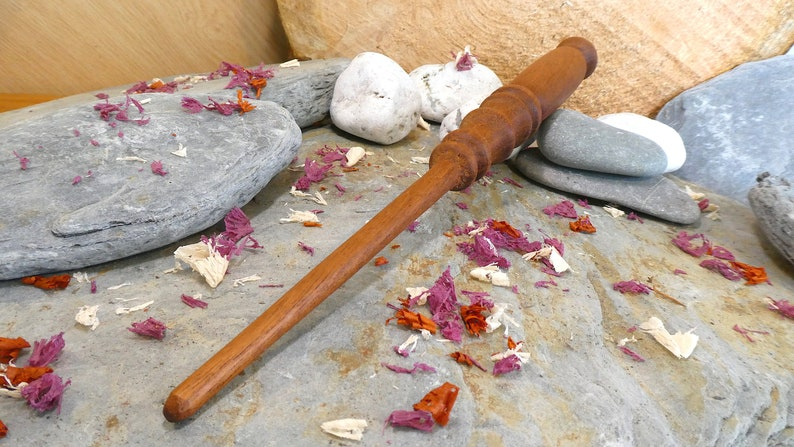 Bespoke Woodwork Witch Wooden Wand Wizard Handcrafted Collectable Unique Design One of a Kind Magic Wand Mahogany Wood