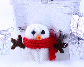 Wickedly Cute Snowman Christmas Ornament Knitting Pattern PDF by Wicked Chickens Yarn Great For Christmas and Holiday Decorating