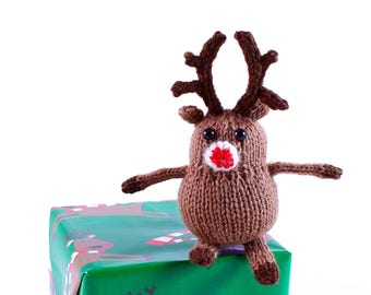 Wickedly Cute Reindeer Christmas Ornament Knitting Pattern PDF by Wicked Chickens Yarn Great For Christmas and Holiday Decorating