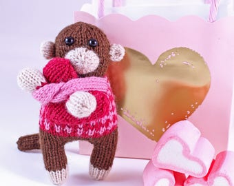 Wicked Chickens Yarn Wickedly Sweet Valentines Monkey Knitting Pattern Great For Valentines Day Or Decorating or Candy Huggers Candy Holder