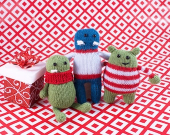 Wickedly Friendly Holiday Monster Trio Christmas Ornaments Knitting Pattern PDF