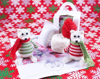 Wicked Chickens Yarn Wickedly Peaceful Polar Bear Christmas Ornament Knitting Kit