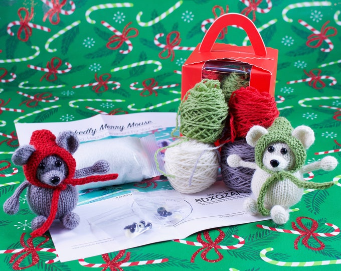 Featured listing image: Wicked Chickens Yarn Wickedly Merry Mouse Christmas Ornaments Knitting Kit