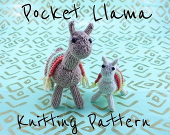 Wicked Chickens Yarn Wickedly Fuzzy Pocket Llama Knitting Pattern Instant Download PDF