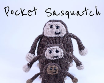 Wicked Chickens Yarn Wickedly Skookum Pocket Sasquatch and Yeti Knitting Pattern Instant Download PDF