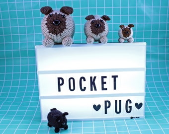 Wicked Chickens Yarn Wickedly Pudgy Pocket Pug Knitting Pattern Instant Download PDF