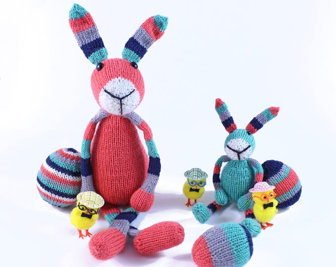 Featured listing image: Wicked Chickens Yarn Wickedly Colorful Easter Bunnies Knitting Kit With Knit Easter Eggs