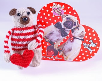 Wicked Chickens Yarn Wickedly Sweet Valentines Pug Knitting Pattern Great For Valentines Day Or Decorating or Candy Huggers or Candy Holder