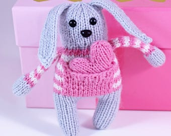 Wicked Chickens Yarn Wickedly Sweet Valentines Bunny Knitting Pattern Great For Valentines Day Or Decorating or Candy Huggers Candy Holder