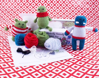 Wicked Chickens Wickedly Friendly Holiday Monster Trio Christmas Ornaments Knitting Kit Great Knitter Gift Or Decorating For the Holidays