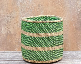 Natural and Turquoise fine weave striped sisal basket BARIDI