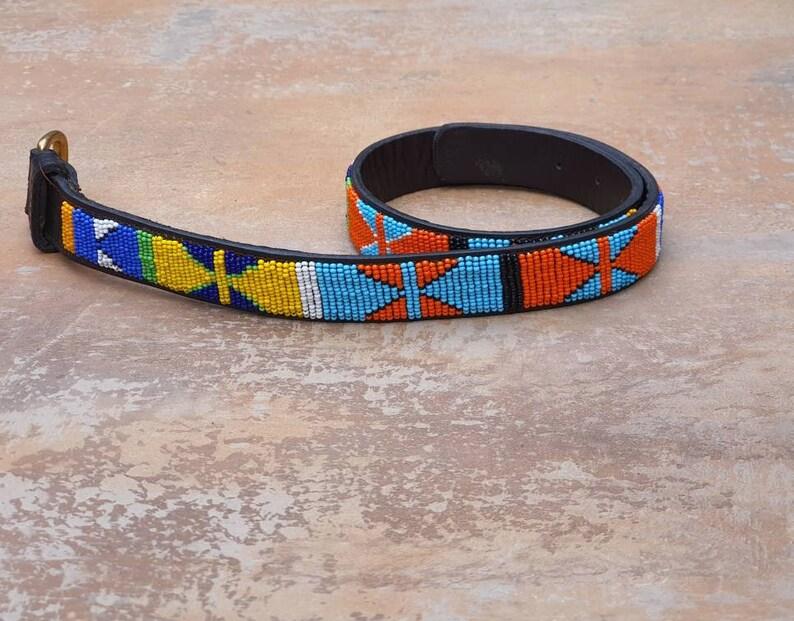 Leather beaded belt Ladies belt Unisex belt 26-29 Kids belt Beaded Maasai belt