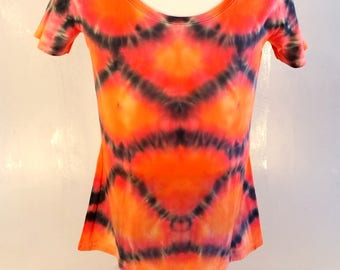 Tie-dye T-shirt, Womens, 2XL, Scoop collar, Dragon Scales style