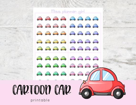 Printable Car Stickers Kawaii Cute Stickers Cartoon Doodle Illustration Clipart