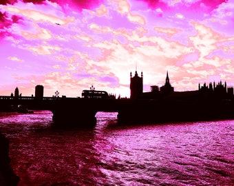 London print- Westminster bridge/ River Thames