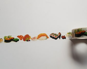 Sushi washi tape, Sushi tape, Washi tape, Planner supplies, Paper tape, Food washi tape, Food, Japanese, Sushi, Sushi lover gift, Kawaii