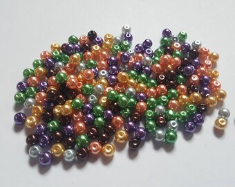 Halloween pearl mix, Glass pearl mix, Glass pearl beads, Bead mix, Bead soup, Glass pearls, Glass beads, Pearl beads, Jewellery making