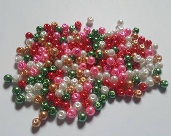 Christmas pearl mix, Glass pearl mix, Glass pearl beads, Bead mix, Bead soup, Glass pearls, Glass beads, Pearl beads, Jewellery making