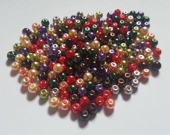 Fall pearl mix, Glass pearl mix, Glass pearl beads, Bead mix, Bead soup, Glass pearls, Glass beads, Pearl beads, Jewellery making