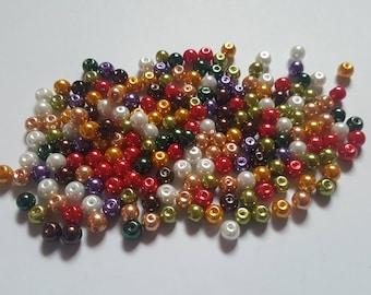 Tartan pearl mix, Glass pearl mix, Glass pearl beads, Bead mix, Bead soup, Glass pearls, Glass beads, Pearl beads, Jewellery making