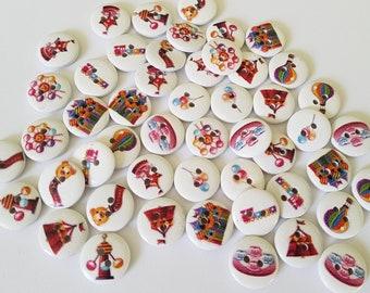 15mm Funfair buttons, Buttons, Craft buttons, Sewing buttons, Scrapbooking, Fairground, Carnival, Funfair, Fair, Rides, Hot air balloon