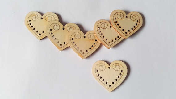 7cm HEARTS x 50 LASER CUT MDF WOODEN BLANK CRAFT SHAPE
