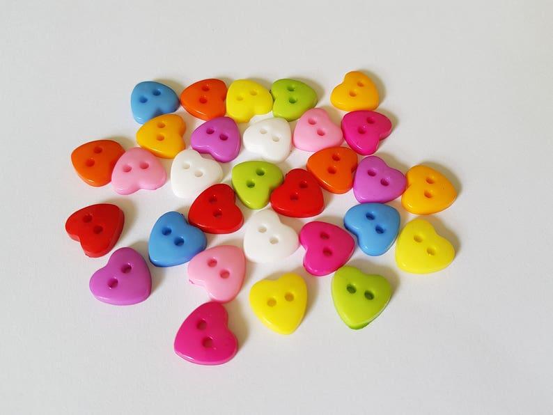 50 x 2-Hole Acrylic Crystal Heart Buttons 12mm