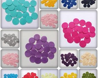 30mm felt circles, felt circles, felt shapes, felt embellishments, craft shapes, craft felt, felt, embellishments, scrapbooking
