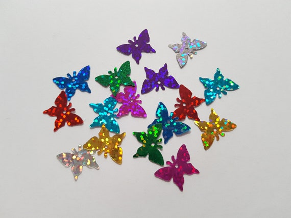 17mm 30 x Craft Sequins Heart Various Colours Available Holographic