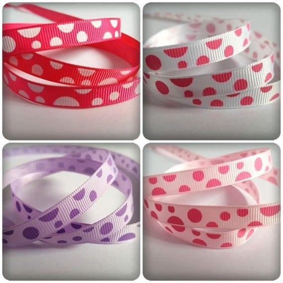 Various Colours Available Printed Satin Polka Dot 3m Ribbon 10mm